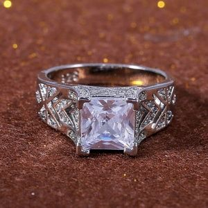 925 Silver Princess Cut White Sapphire Ring New